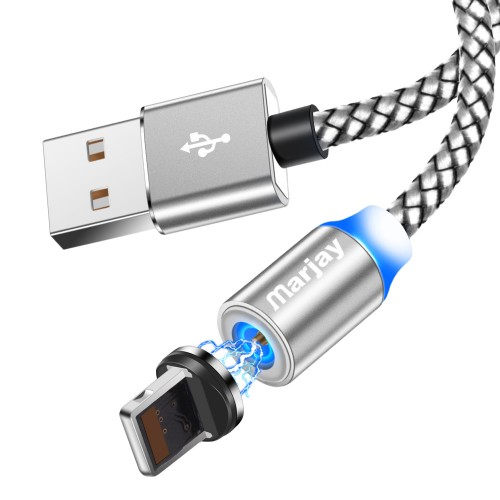 Магнитный кабель зарядки Marjay iPhone IOS Серебристый 1м