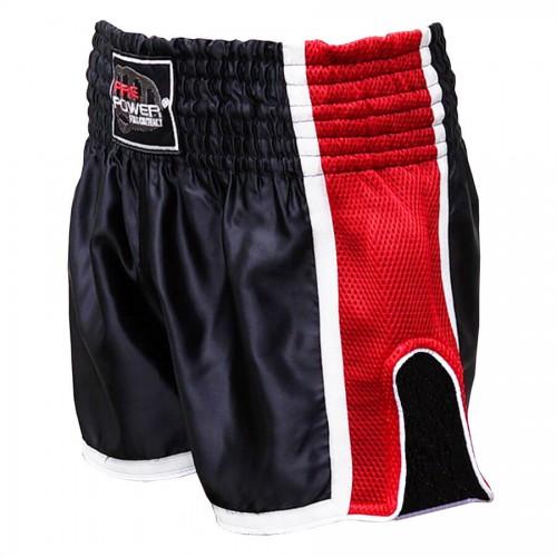 Шорты для тайского бокса FirePower ST-16 (L) Черные с красным