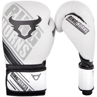 Боксерские перчатки Ringhorns Nitro Белые с черным (10 oz)