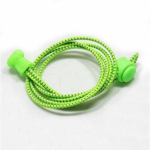 Шнурки  (быстрые, ленивые) эластичные круглые со светоотражающей нитью ,100см/3мм, пара Firepower Лайм
