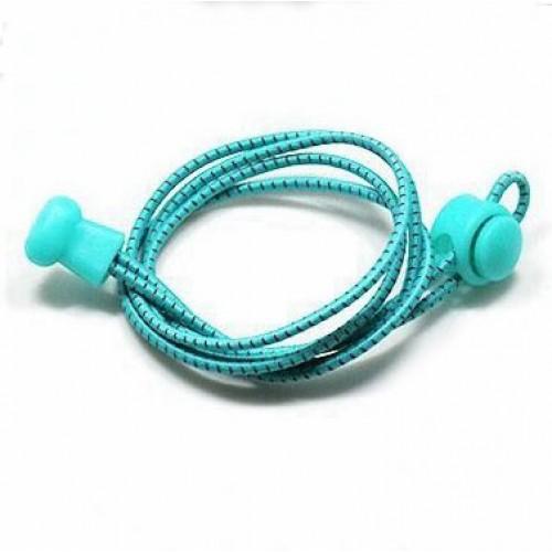 Шнурки  (быстрые, ленивые) эластичные круглые со светоотражающей нитью ,100см/3мм, пара Firepower Бирюзовые
