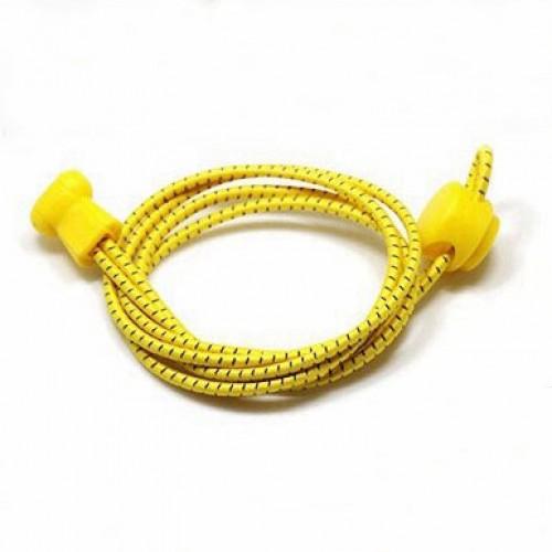 Шнурки  (быстрые, ленивые) эластичные круглые со светоотражающей нитью ,100см/3мм, пара Firepower Желтые