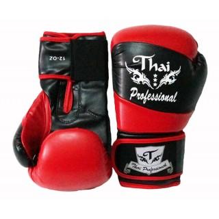 Боксерские перчатки Thai Professional BG7 (10oz) Черные с красным