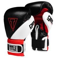 Боксерские перчатки TITLE GEL E-Series Training/Sparring Gloves (14oz) Черные с белым и красным