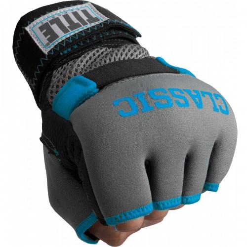 Бинт-перчатки Гелевые TITLE Classic Gel-X Wraps (L) Серые с голубым