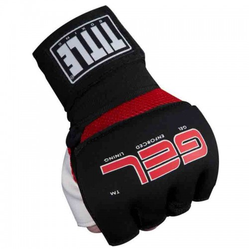 Бинт-перчатки Гелевые TITLE Boxing Assault Wraps (L) Черные с красным