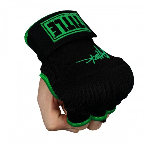 Бинт-перчатки TITLE Boxing Attack Nitro Speed Wraps Черные с зеленым (S)
