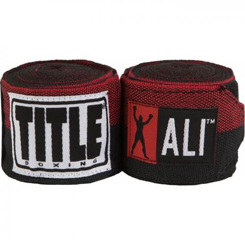 Бинты боксерские эластичные TITLE Boxing Muhamed Ali Semi-Stretch 4,5м Черный с красным