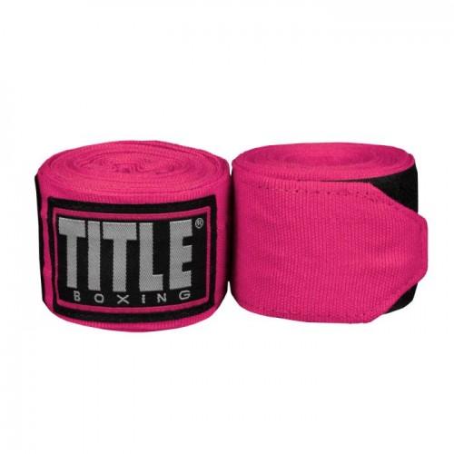 Бинты боксерские эластичные TITLE Boxing Fight Back Semi-Elastic 4,5м Рожеві