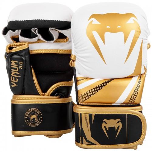 Перчатки MMA Sparring Venum Challenger 3.0 (S) Белые с черным и золотым